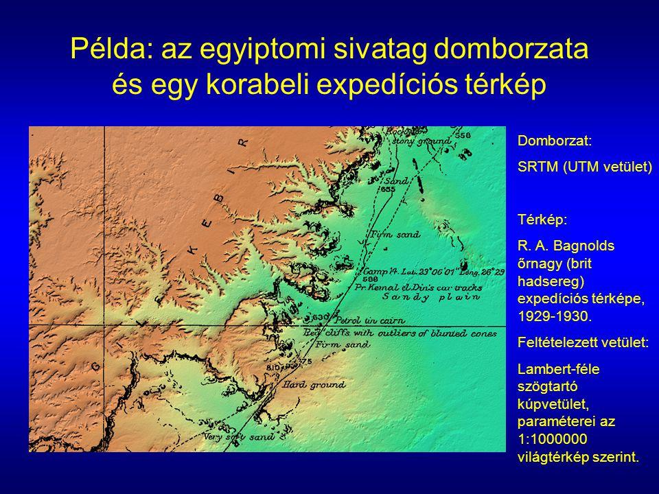 Példa: az egyiptomi sivatag domborzata és egy korabeli expedíciós térkép