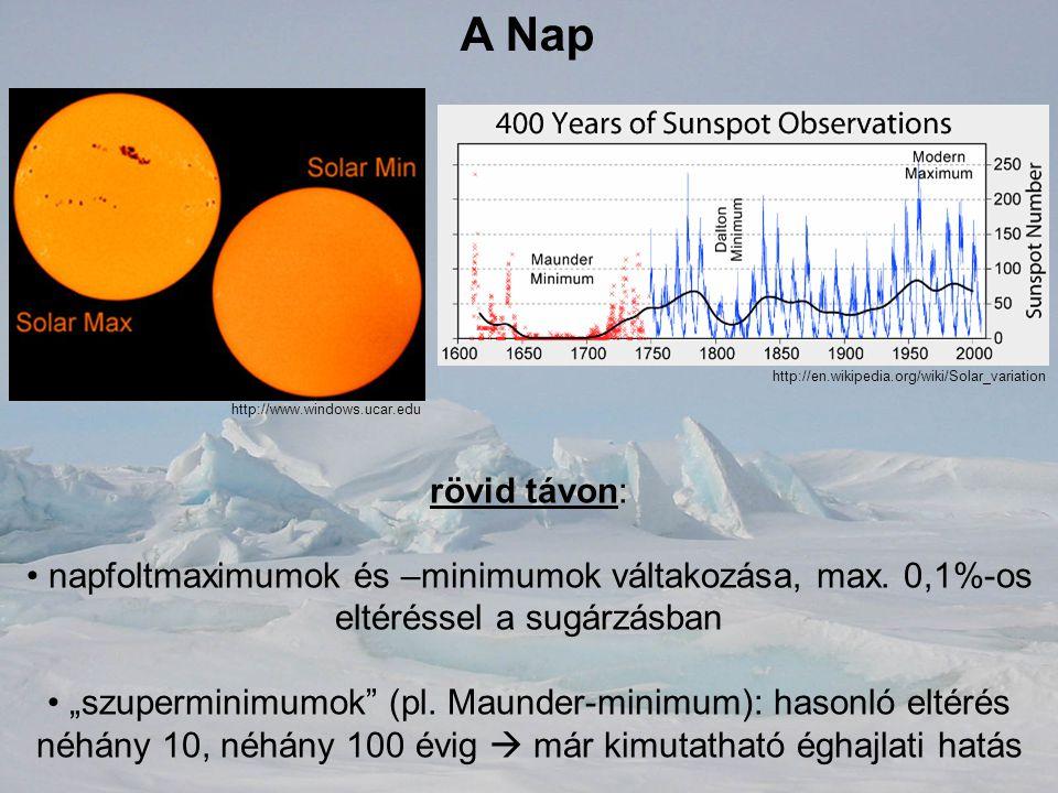 A Nap http://en.wikipedia.org/wiki/Solar_variation. http://www.windows.ucar.edu. rövid távon: