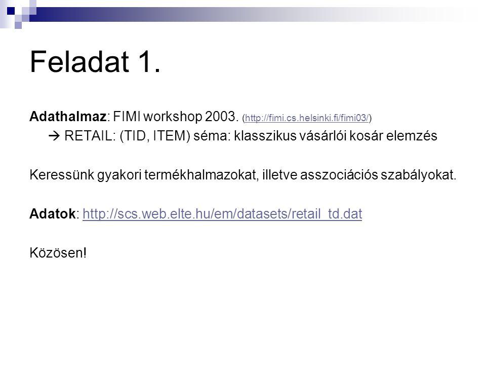 Feladat 1. Adathalmaz: FIMI workshop 2003. (http://fimi.cs.helsinki.fi/fimi03/)  RETAIL: (TID, ITEM) séma: klasszikus vásárlói kosár elemzés.