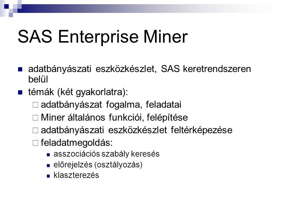 SAS Enterprise Miner adatbányászati eszközkészlet, SAS keretrendszeren belül. témák (két gyakorlatra):