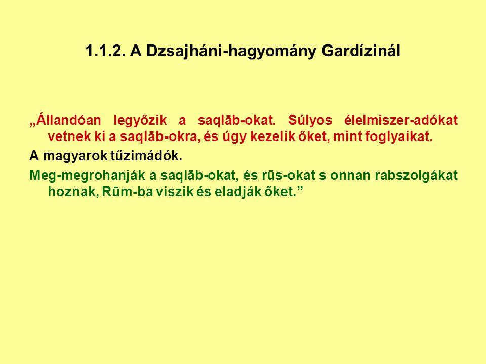 1.1.2. A Dzsajháni-hagyomány Gardízinál