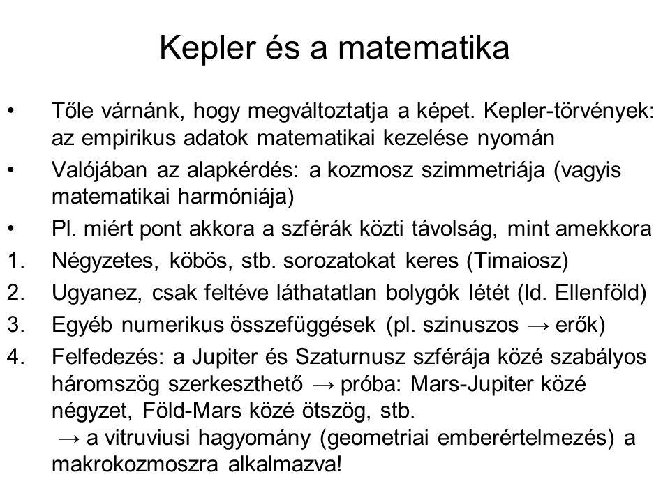 Kepler és a matematika Tőle várnánk, hogy megváltoztatja a képet. Kepler-törvények: az empirikus adatok matematikai kezelése nyomán.