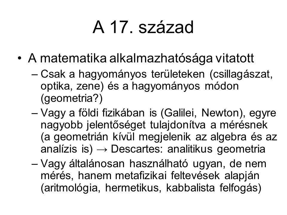A 17. század A matematika alkalmazhatósága vitatott