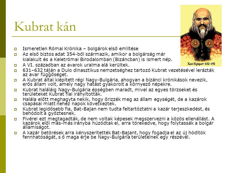 Kubrat kán Ismeretlen Római Krónika – bolgárok első említése
