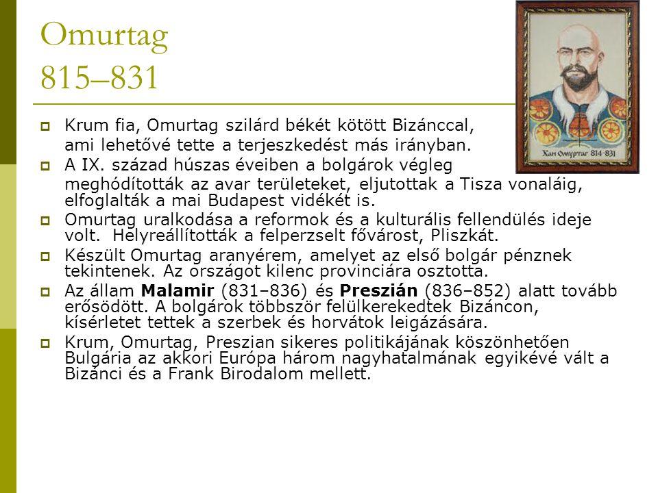 Omurtag 815–831 Krum fia, Omurtag szilárd békét kötött Bizánccal,