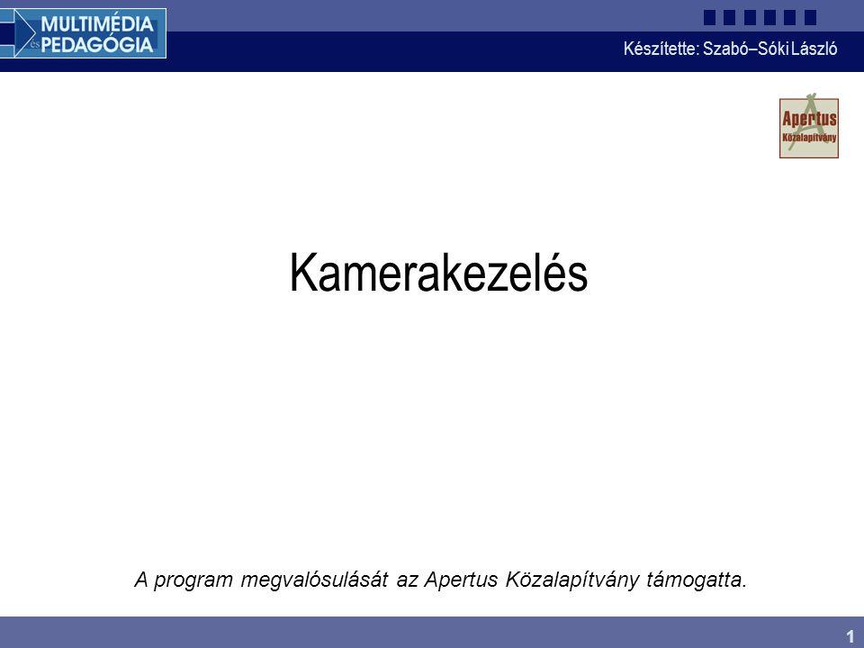 Kamerakezelés A program megvalósulását az Apertus Közalapítvány támogatta.