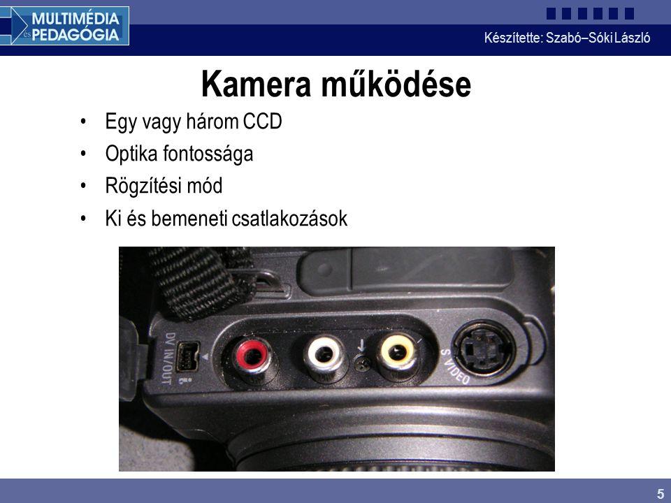Kamera működése Egy vagy három CCD Optika fontossága Rögzítési mód