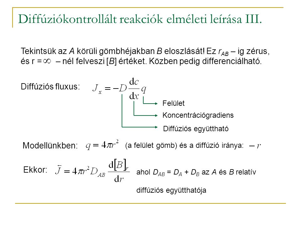Diffúziókontrollált reakciók elméleti leírása III.