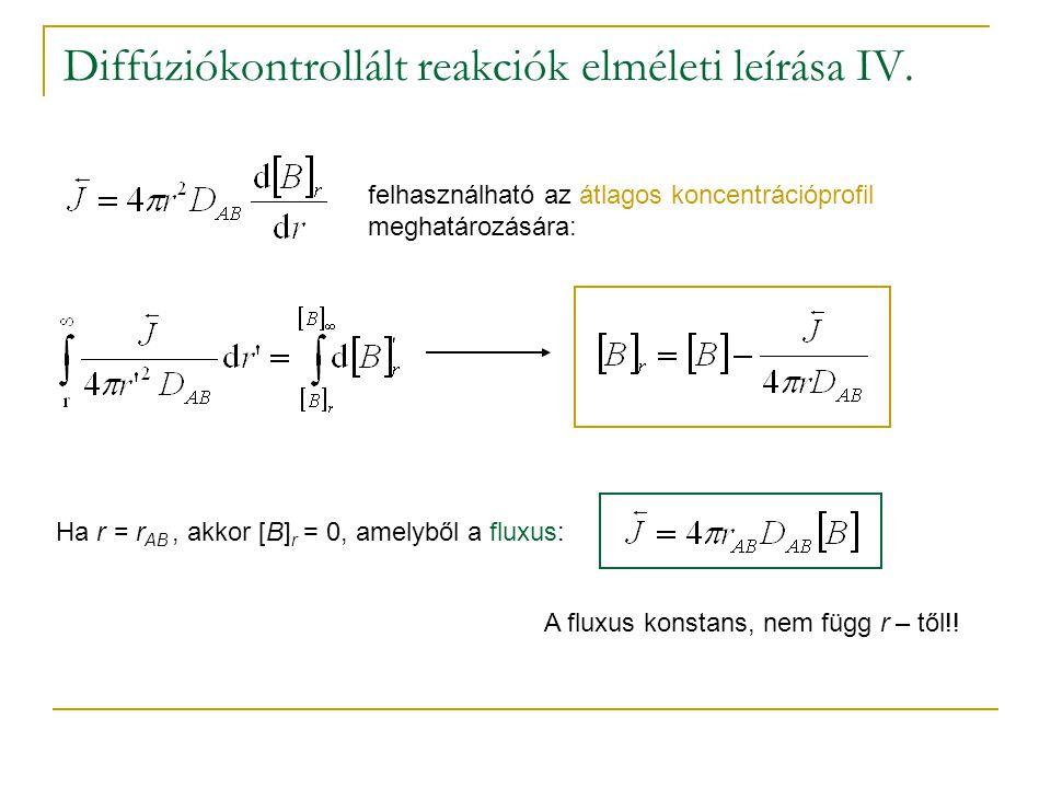 Diffúziókontrollált reakciók elméleti leírása IV.