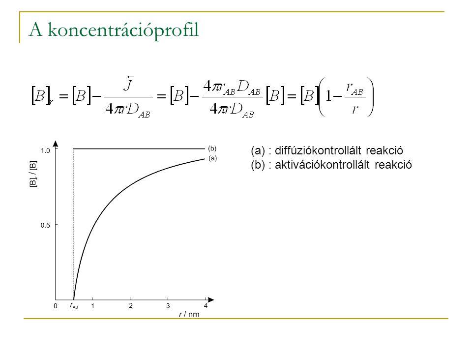 A koncentrációprofil : diffúziókontrollált reakció