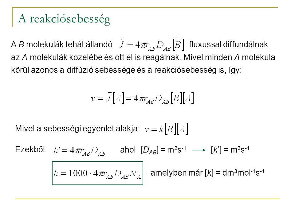 A reakciósebesség A B molekulák tehát állandó fluxussal diffundálnak