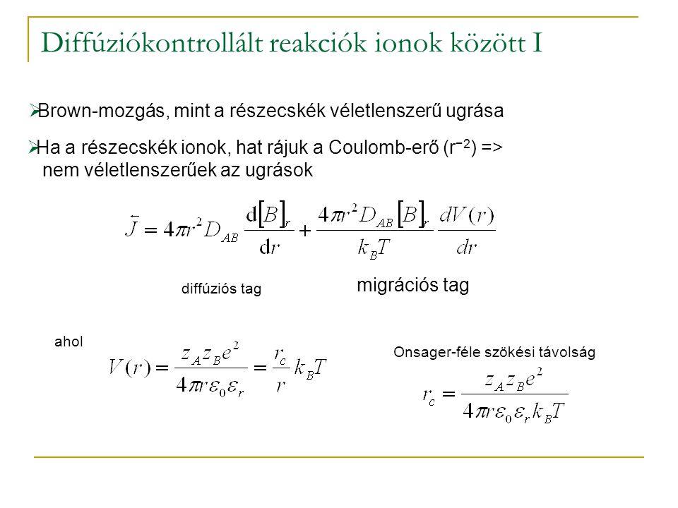 Diffúziókontrollált reakciók ionok között I