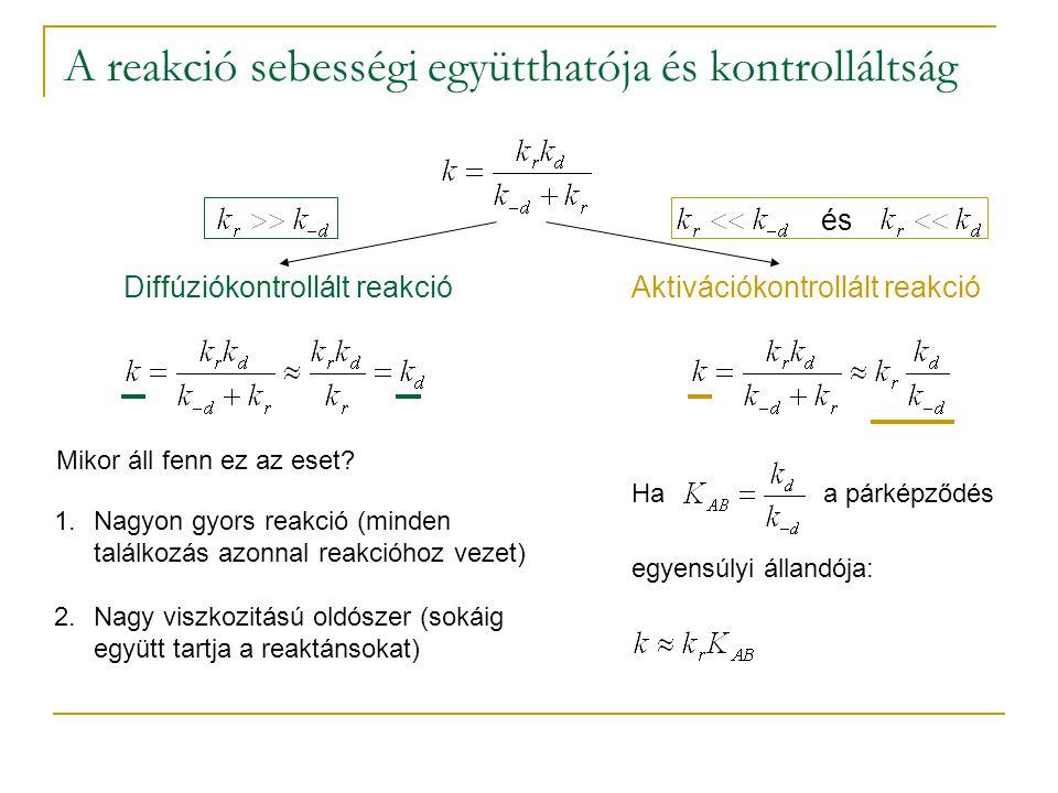 A reakció sebességi együtthatója és kontrolláltság