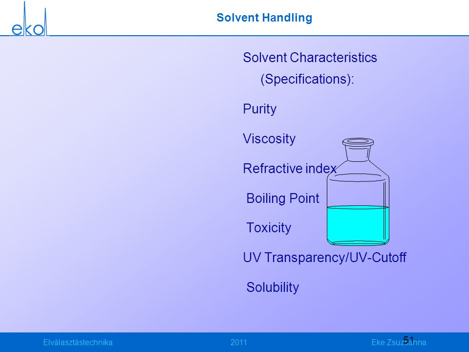 Solvent Characteristics (Specifications):