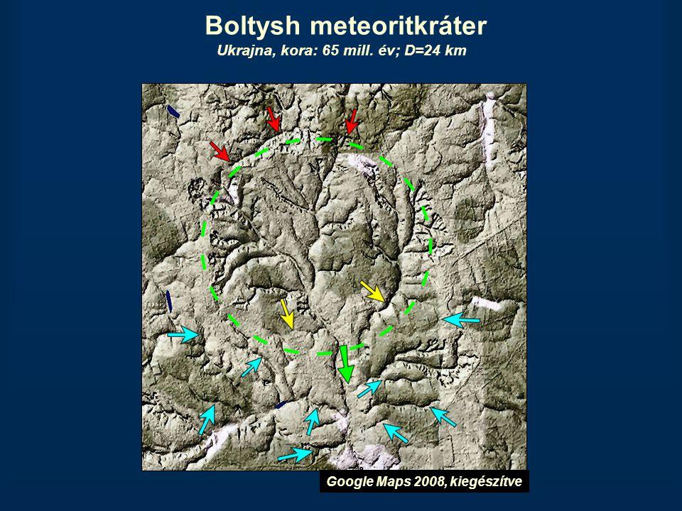 Boltysh meteoritkráter Ukrajna, kora: 65 mill. év; D=24 km