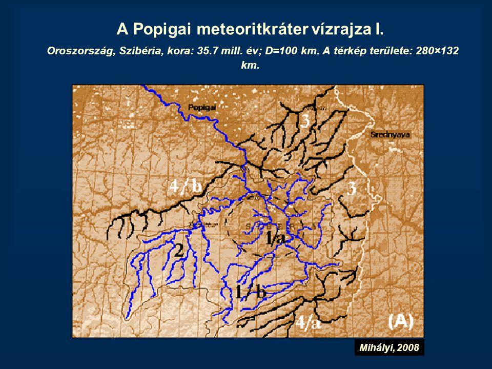 A Popigai meteoritkráter vízrajza I. Oroszország, Szibéria, kora: 35