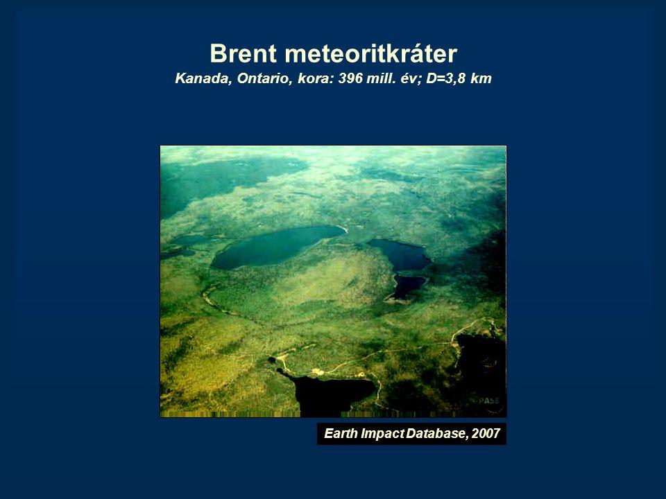 Brent meteoritkráter Kanada, Ontario, kora: 396 mill. év; D=3,8 km
