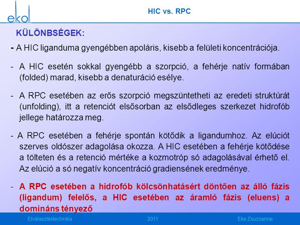 HIC vs. RPC KÜLÖNBSÉGEK: - A HIC liganduma gyengébben apoláris, kisebb a felületi koncentrációja.