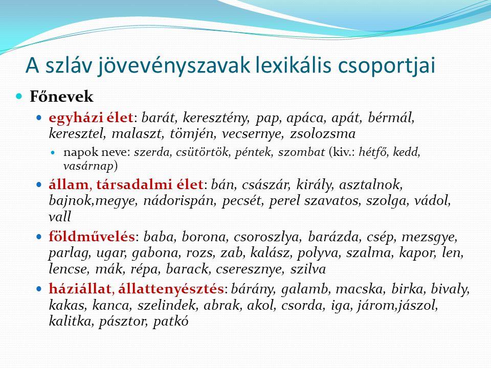 A szláv jövevényszavak lexikális csoportjai