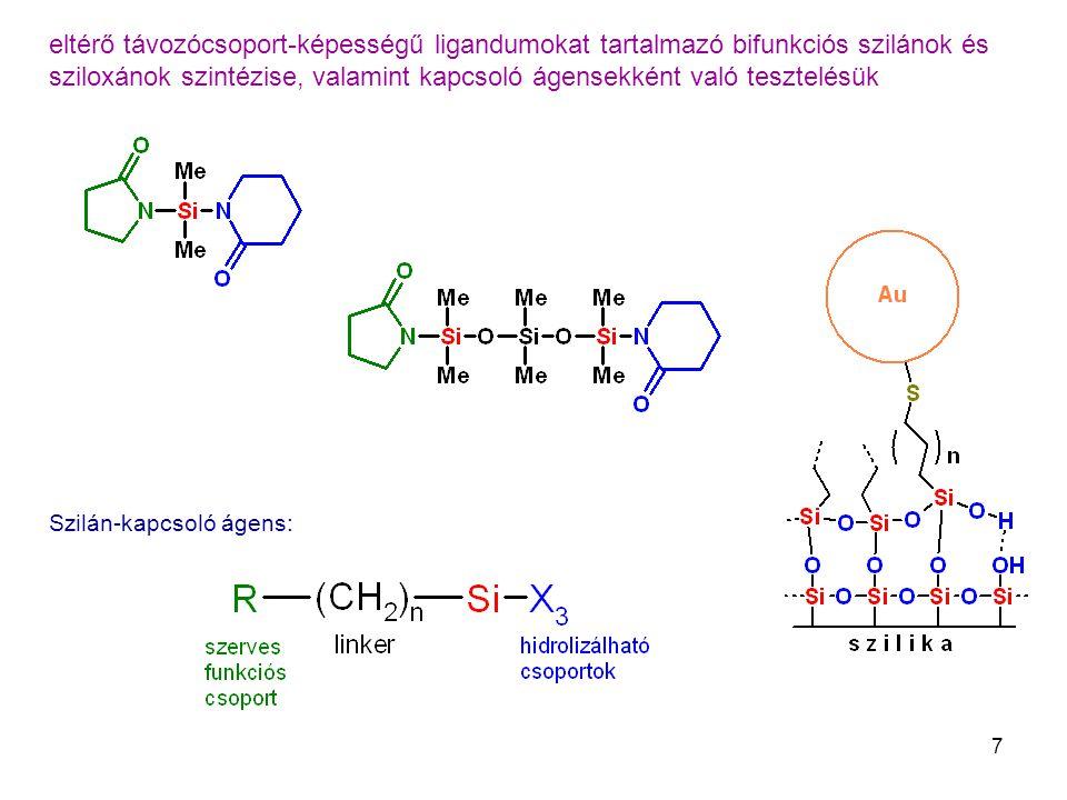 eltérő távozócsoport-képességű ligandumokat tartalmazó bifunkciós szilánok és sziloxánok szintézise, valamint kapcsoló ágensekként való tesztelésük
