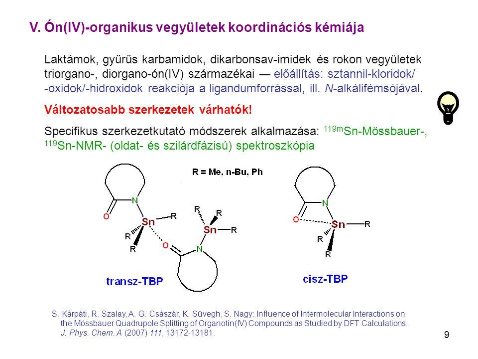 V. Ón(IV)-organikus vegyületek koordinációs kémiája