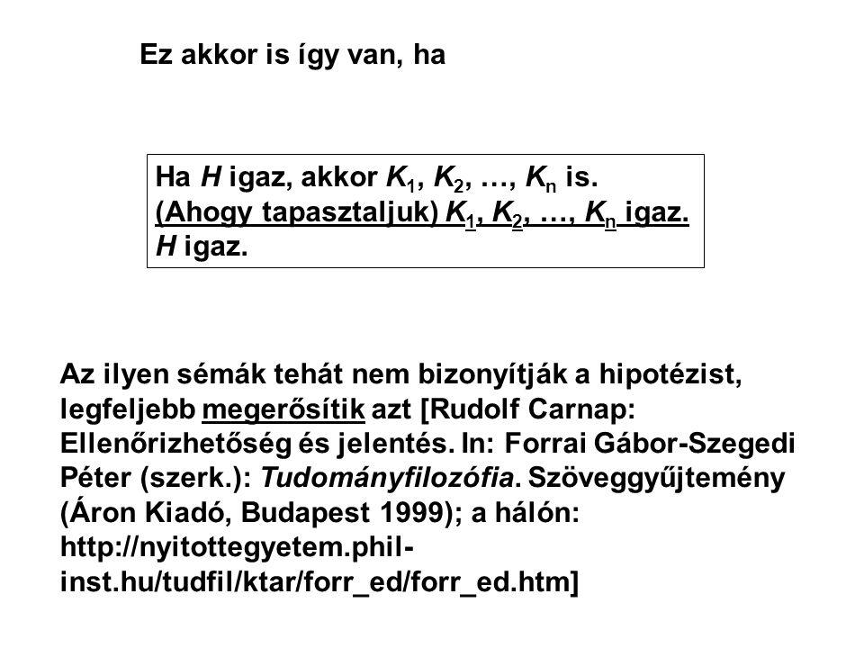 Ez akkor is így van, ha Ha H igaz, akkor K1, K2, …, Kn is. (Ahogy tapasztaljuk) K1, K2, …, Kn igaz.