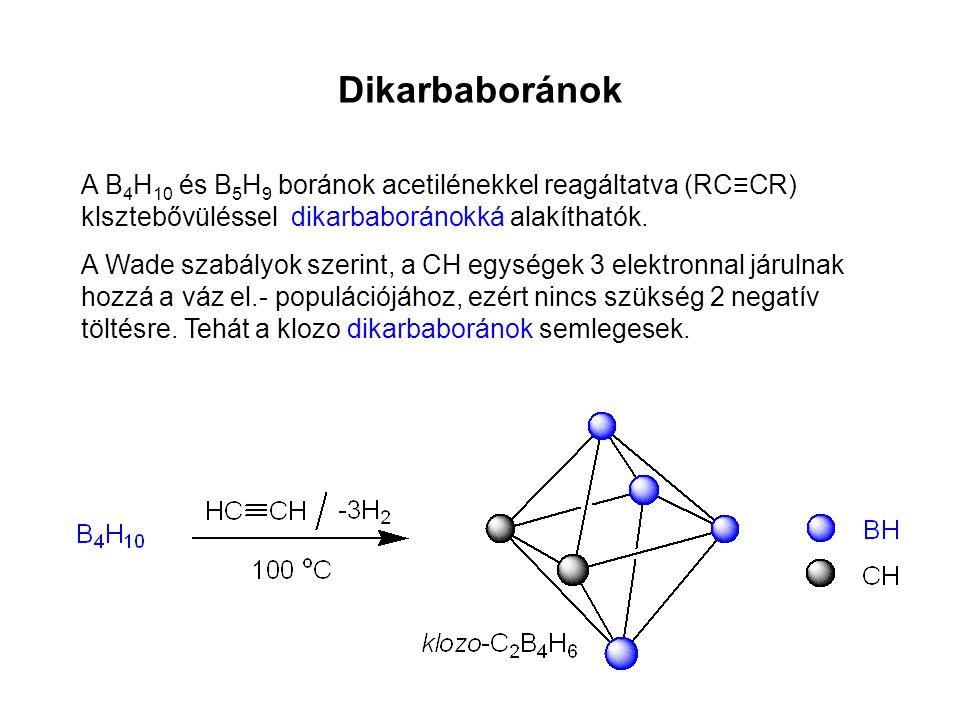 Dikarbaboránok A B4H10 és B5H9 boránok acetilénekkel reagáltatva (RC≡CR) klsztebővüléssel dikarbaboránokká alakíthatók.