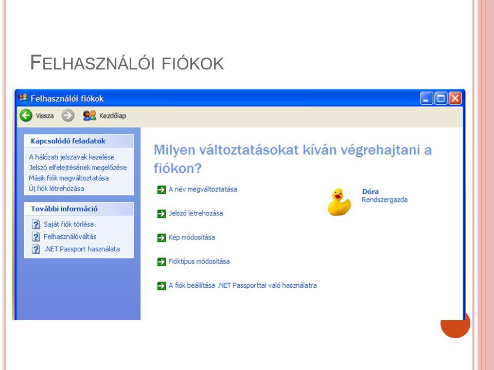 Felhasználói fiókok