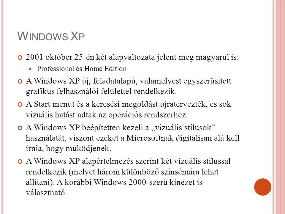 Windows Xp 2001 október 25-én két alapváltozata jelent meg magyarul is: Professional és Home Edition.