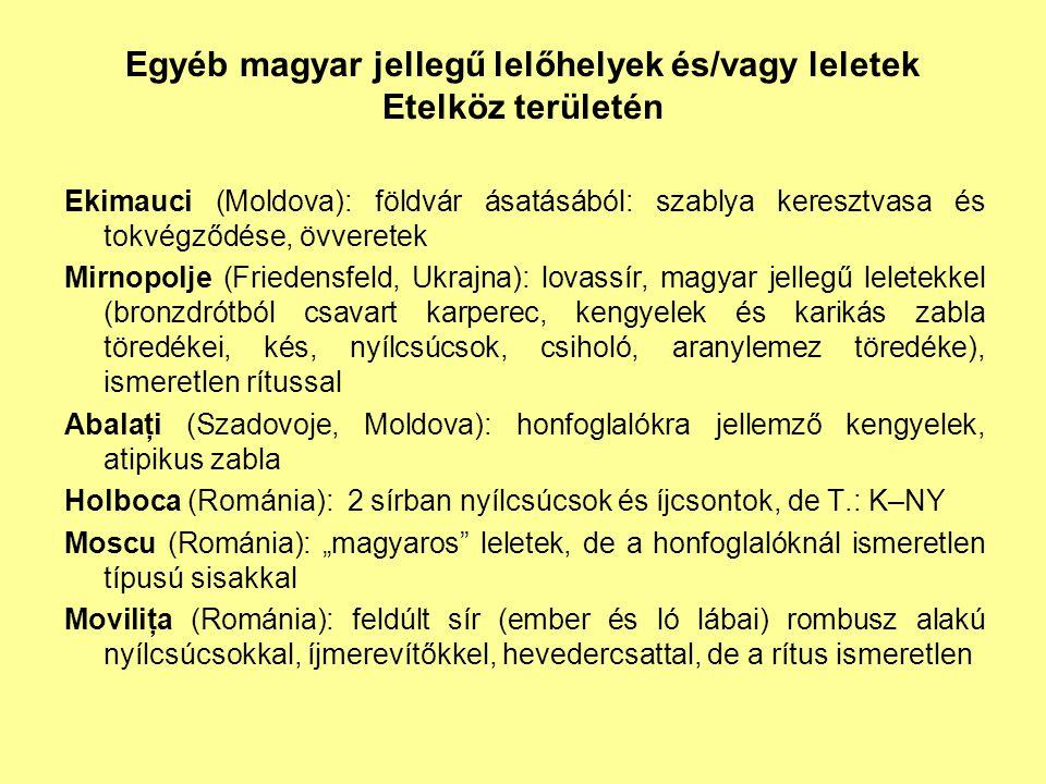Egyéb magyar jellegű lelőhelyek és/vagy leletek Etelköz területén