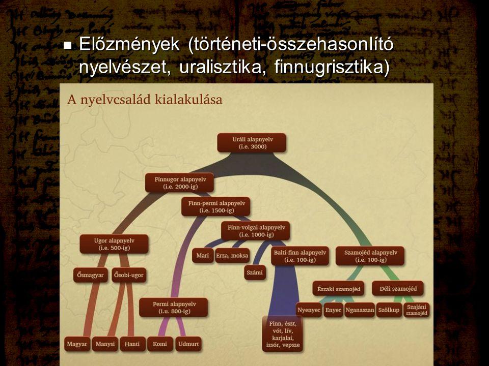 Előzmények (történeti-összehasonlító nyelvészet, uralisztika, finnugrisztika)