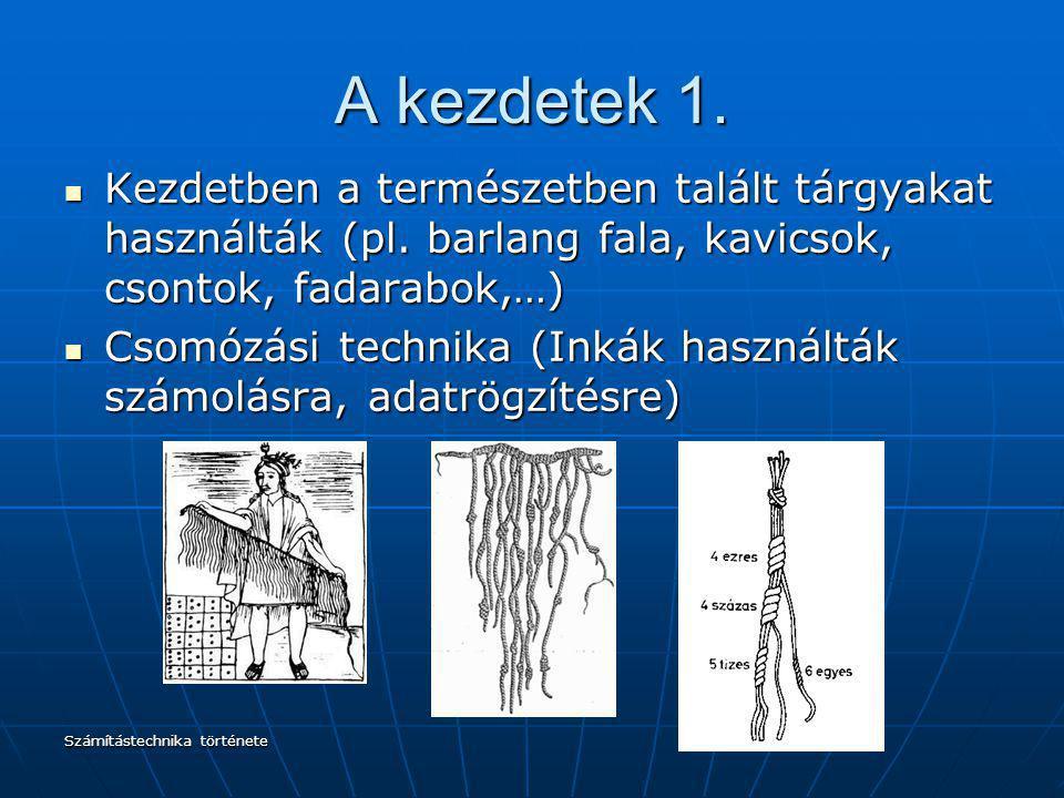 A kezdetek 1. Kezdetben a természetben talált tárgyakat használták (pl. barlang fala, kavicsok, csontok, fadarabok,…)