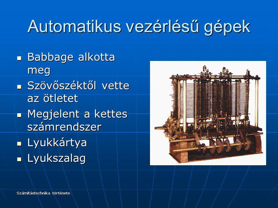 Automatikus vezérlésű gépek