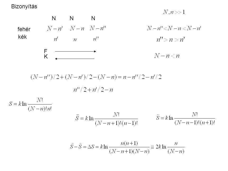 Bizonyítás N N N fehér kék F K