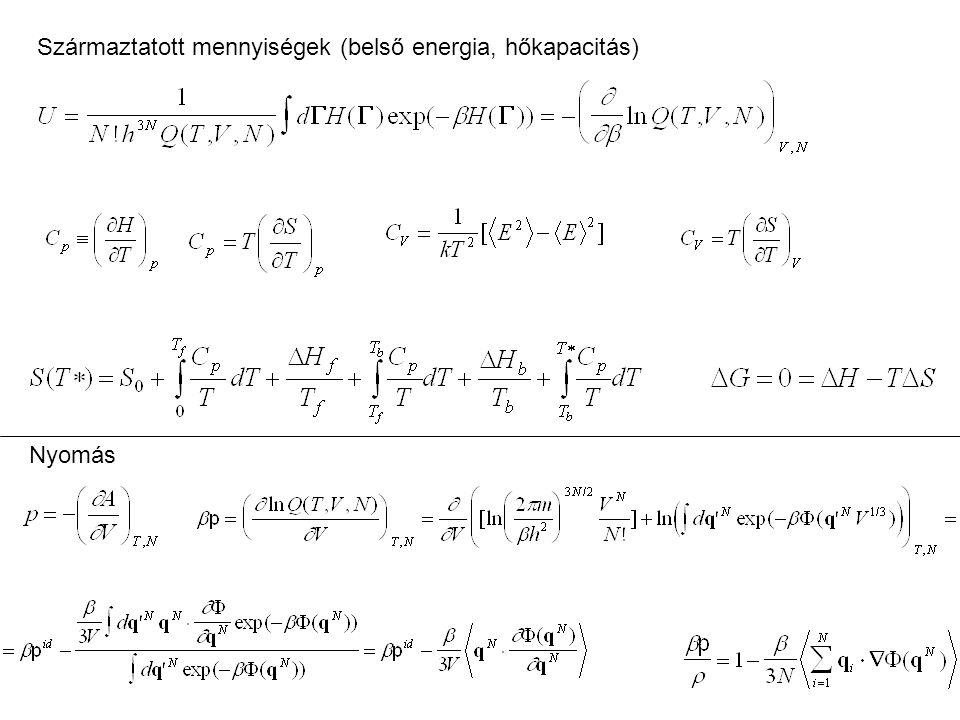 Származtatott mennyiségek (belső energia, hőkapacitás)