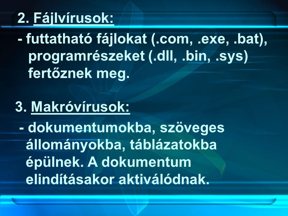 2. Fájlvírusok: - futtatható fájlokat (.com, .exe, .bat), programrészeket (.dll, .bin, .sys) fertőznek meg.