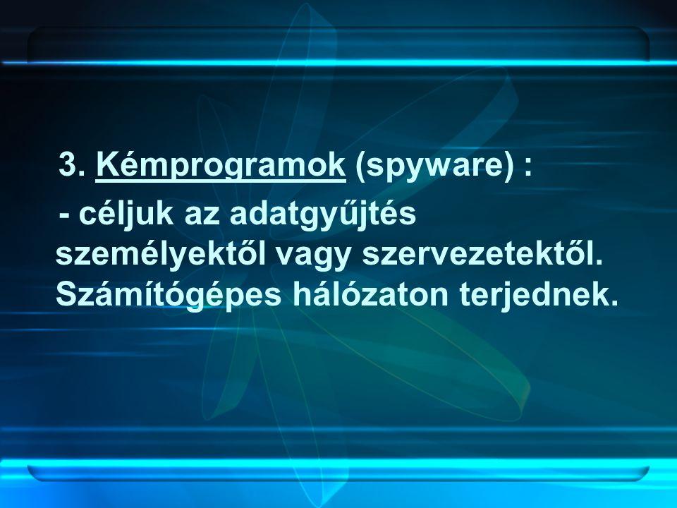 3. Kémprogramok (spyware) :