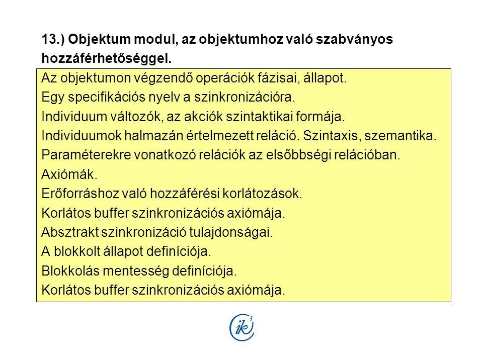 13.) Objektum modul, az objektumhoz való szabványos