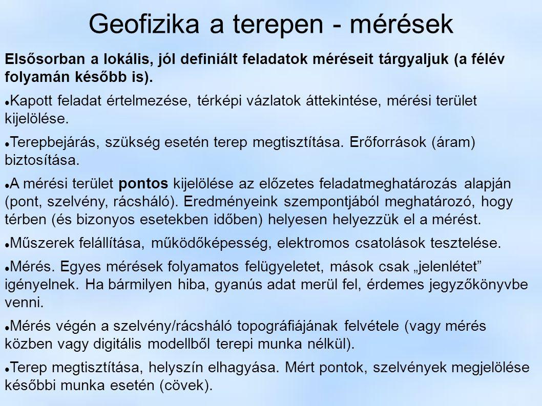 Geofizika a terepen - mérések