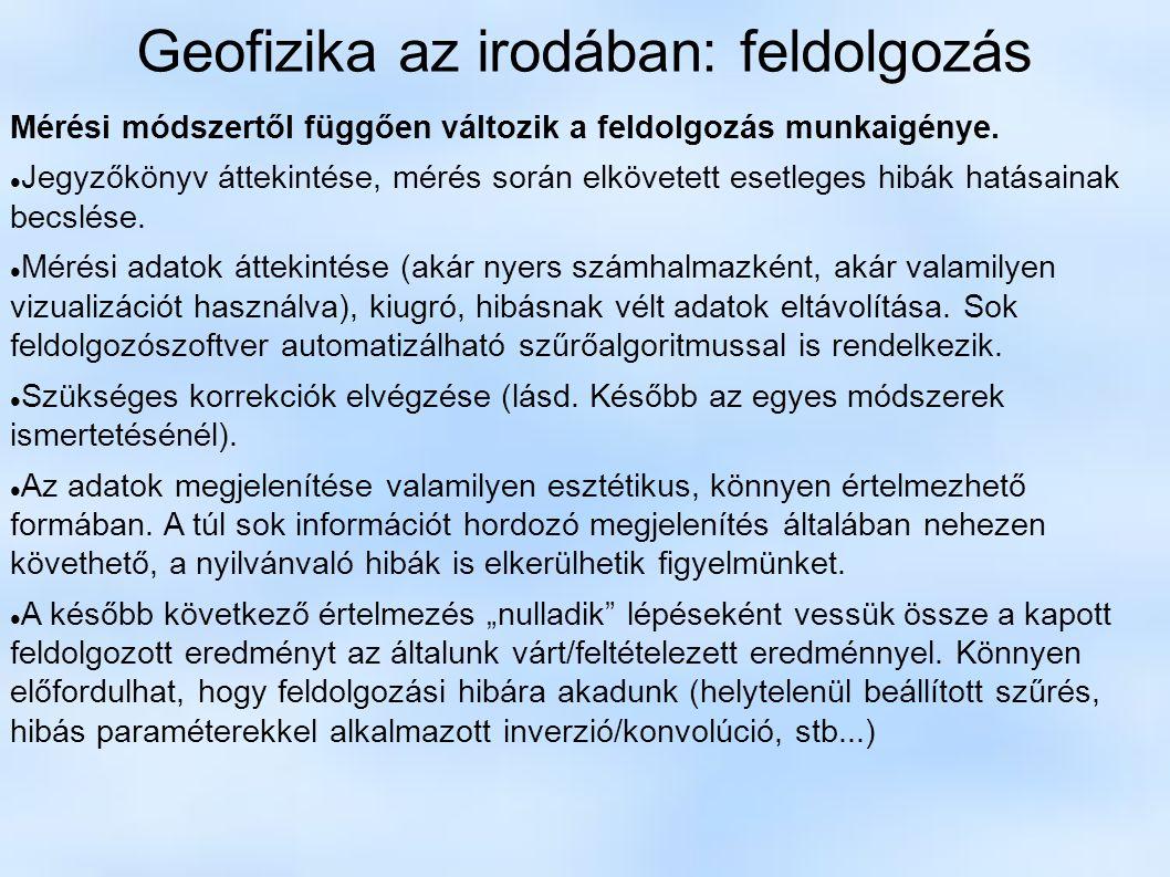 Geofizika az irodában: feldolgozás