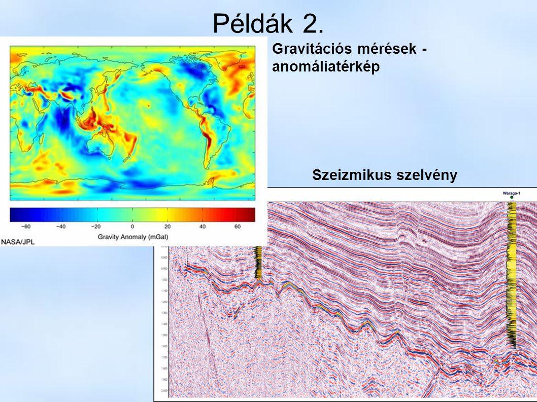 Példák 2. Gravitációs mérések - anomáliatérkép Szeizmikus szelvény