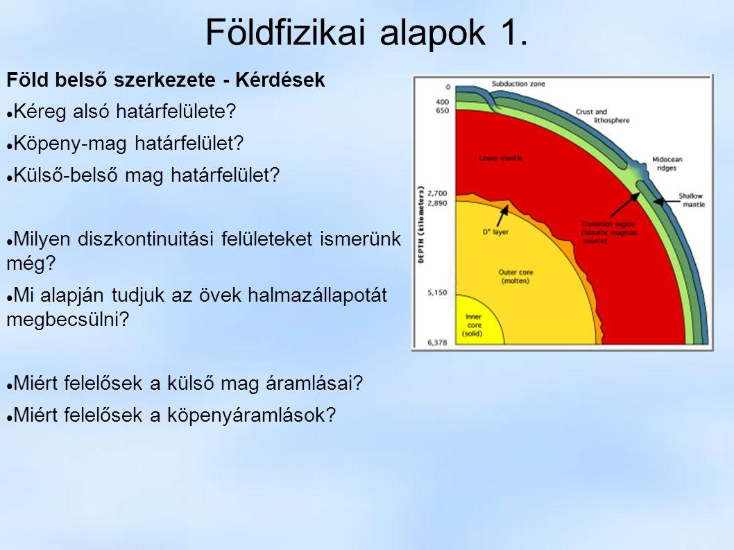 Földfizikai alapok 1. Föld belső szerkezete - Kérdések