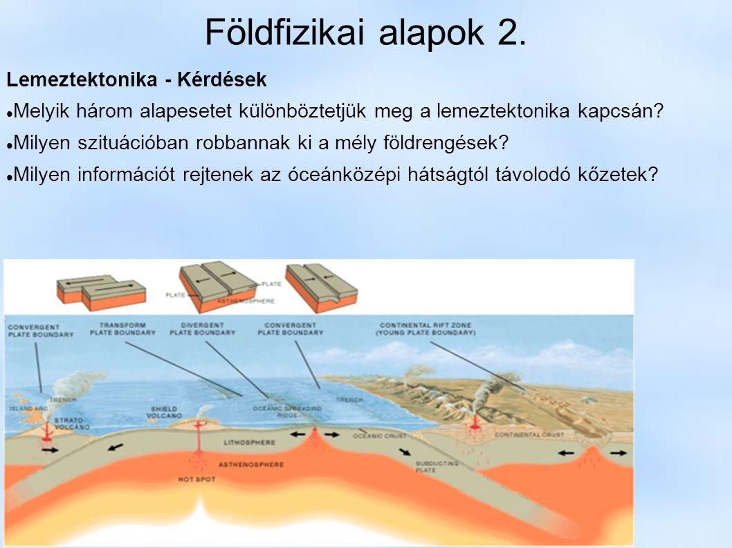 Földfizikai alapok 2. Lemeztektonika - Kérdések