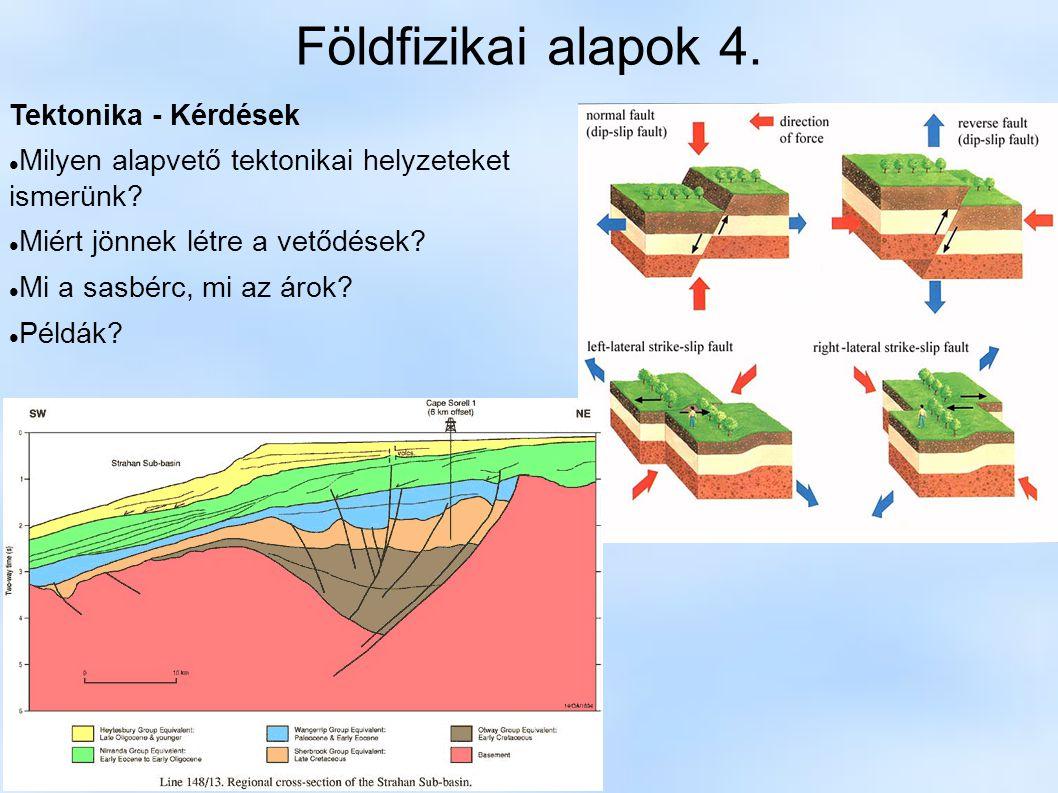 Földfizikai alapok 4. Tektonika - Kérdések