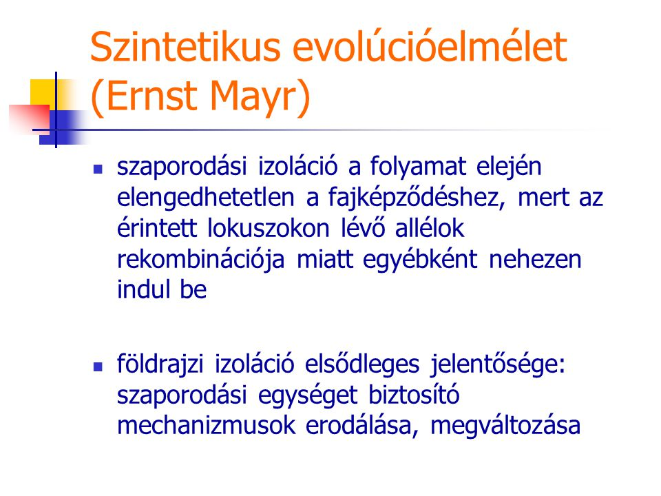 Szintetikus evolúcióelmélet (Ernst Mayr)