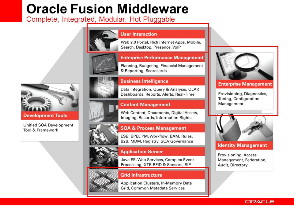 Oracle Fusion Middleware Complete, Integrated, Modular, Hot Pluggable