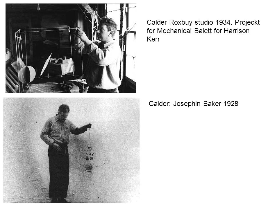 Calder Roxbuy studio 1934. Projeckt for Mechanical Balett for Harrison Kerr