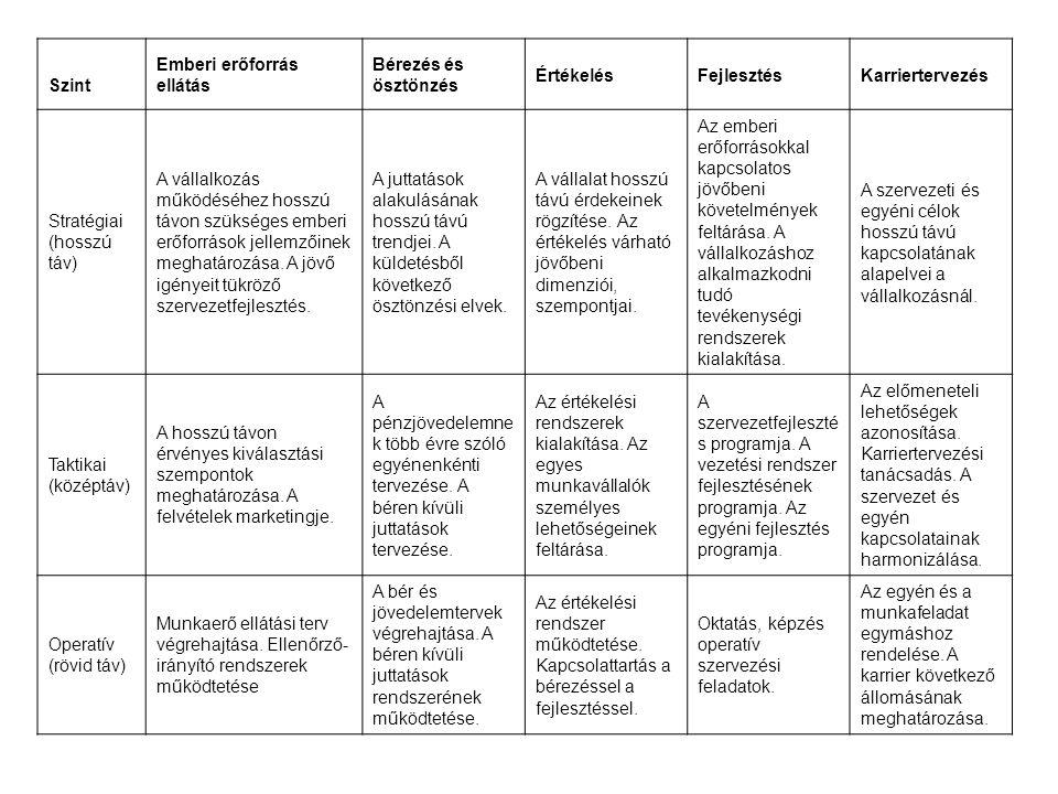 Szint Emberi erőforrás ellátás. Bérezés és ösztönzés. Értékelés. Fejlesztés. Karriertervezés. Stratégiai (hosszú táv)