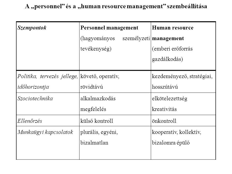 """A """"personnel és a """"human resource management szembeállítása"""