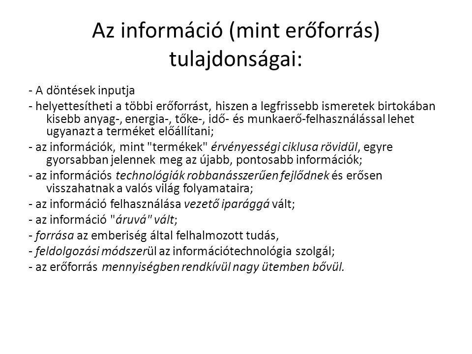 Az információ (mint erőforrás) tulajdonságai: